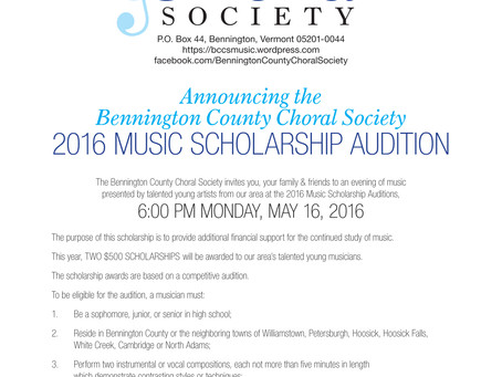 Update: 2016 Scholarship Audition