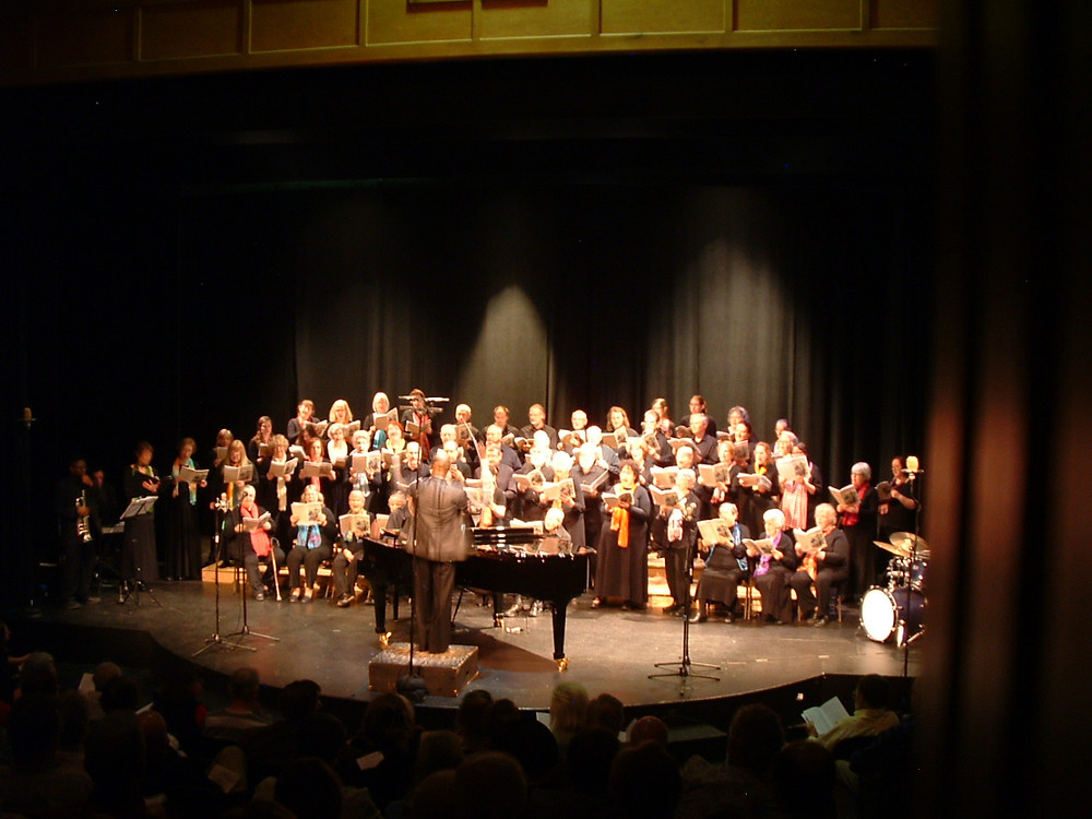 The Bennington County Choral Society and music director Cailin Marcel Manson in full Broadway flight at the Bennington Center for the Arts on May 3, 2015.
