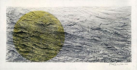 Yoel Diaz Vazquez, Seestück 1, 2020, graphite, acrylic on canvas, 43 x 83 cm