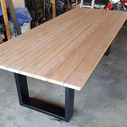 Blackbutt and steel outdoor table