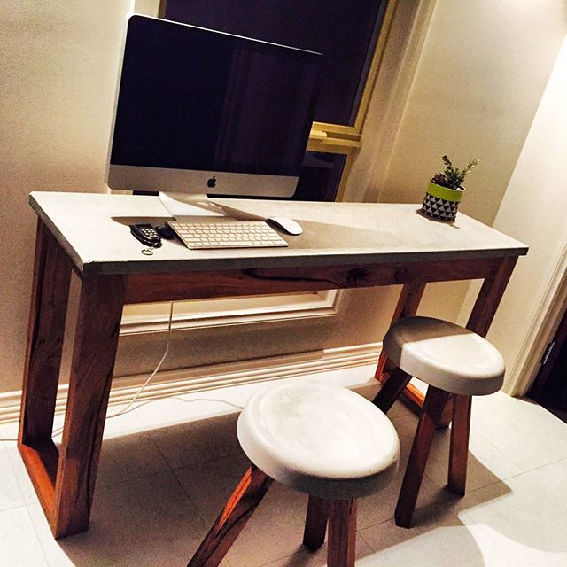 Concrete and reclaimed timber desk