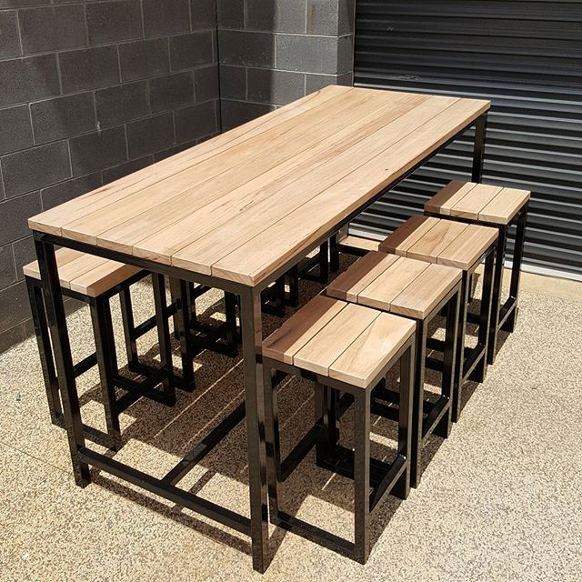 Blackbutt and Steel Bartable