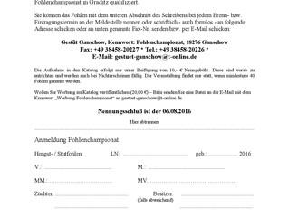 Anmeldungen für das Fohlenchampionat in Graditz