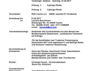 Trakehner Freispringchampionat in Gordemitz ist 1.Qualifikation Freispringcup Trakehner Hengstmarkt