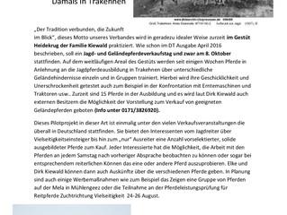 Safe the Date: 08. Oktober 2016 Jagd- und Geländepferdeverkaufstag in Heidekrug ab 10.00 Uhr