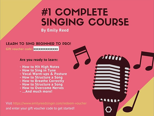 Gift Voucher for Emily Reed Complete Online Singing Course - Instant Access