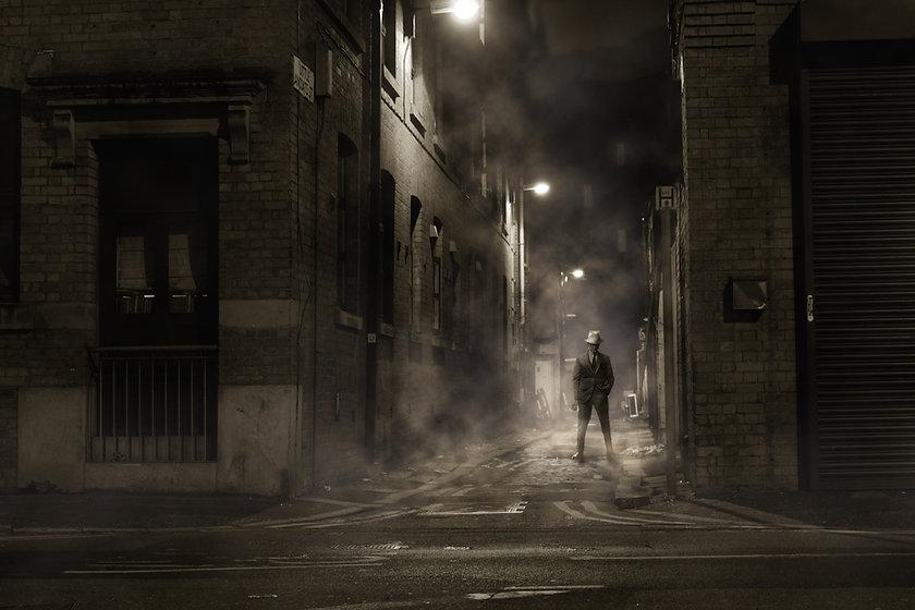 Mafia Man at Night Black and White