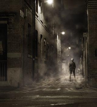 Mafia Man di notte in bianco e nero