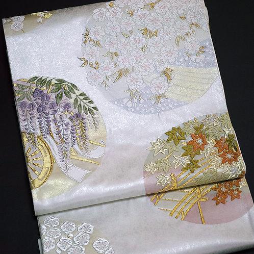 袋帯 | 紫紘 春秋花の丸