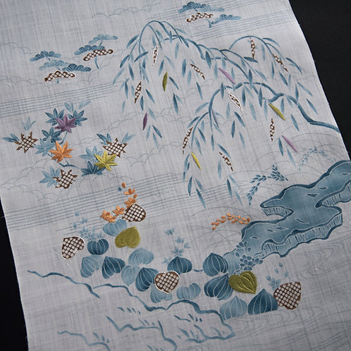 染帯 | 苧麻 水葵の御所解 藍上げ