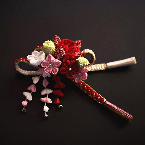 かんざし | 縮緬小桜組花簪ピンク