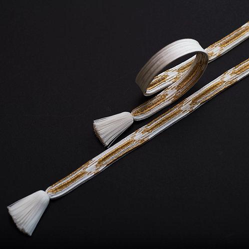 帯締め | 経巻組 白金 - 留袖用 ( 本金糸使用 )
