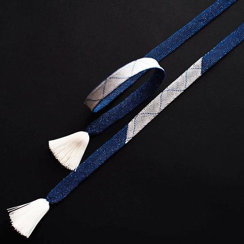 帯締め | レース内記組 貴石糸 山脈取 (濃紺色)