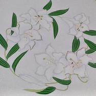 百合の花丸。_絽に染めて6月に、と当初考えていた図案でしたが、百合は聖母の象徴。