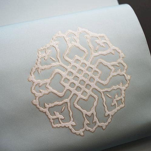 染帯 | 塩瀬 秘色 染と繍きだ 正倉院大華紋 総刺繍