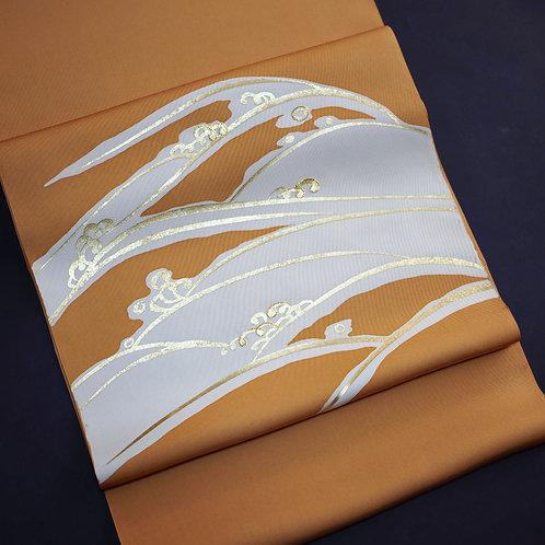 染帯 | 塩瀬 柿色 金彩波