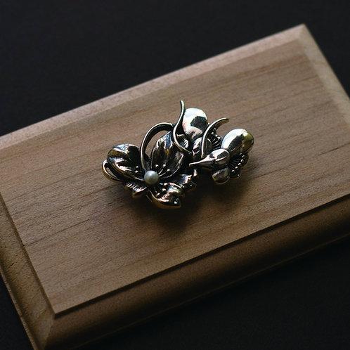 帯留 | 「胡蝶の夢」 銀細工
