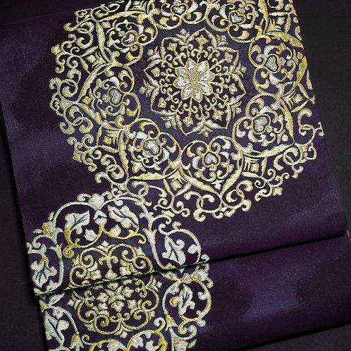 袋帯 | 紫紘 金銀正倉院華文