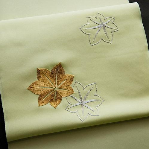染帯 | 塩瀬 若菜色 紅葉駒糸繍