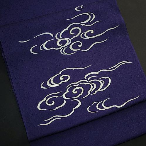 染帯 | 雲紋意匠 紅桔梗色 瑞雲