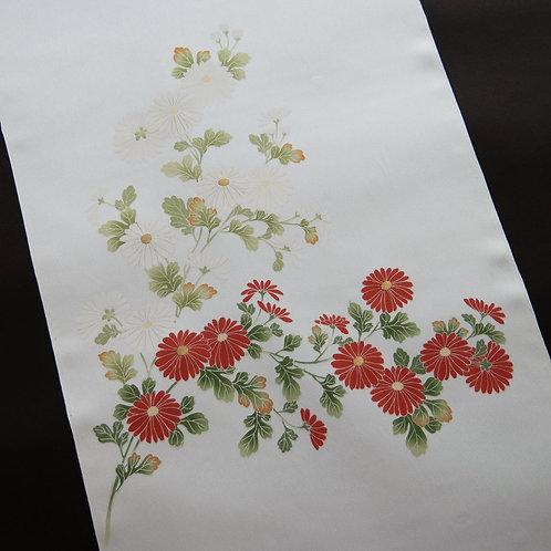 染帯   塩瀬 生成 紅白菊