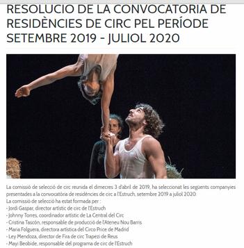 """""""Fihizhká"""" obra ganadora de las Residencias de circo en L´Estruch, Fábrica de creació, Catalunya."""