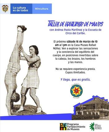 Taller de equilibrio de manos con Andrea Paola Martínez en el Circo del Caribe, Cartagena, Colombia.