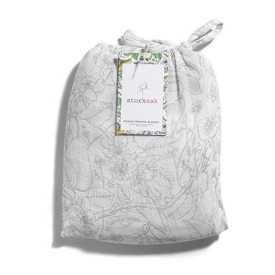 Storksak Muslin Swaddle Blanket: Garden Print