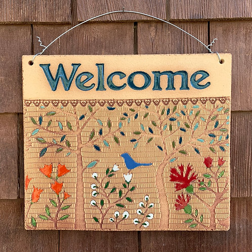 Welcome Sign WOODLAND Teal