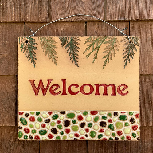 Welcome Sign PEBBLE STONE