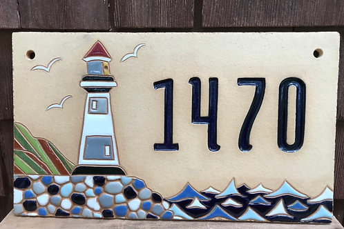 Custom House Number Sign LIGHT HOUSE