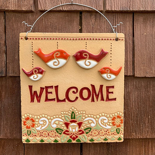 Mini Welcome Sign FOUR BIRDS red