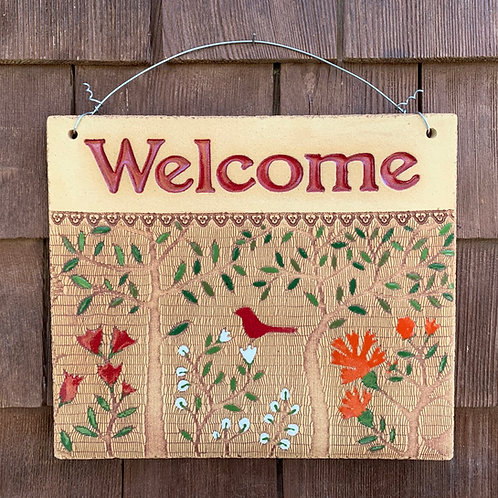 Welcome Sign WOODLAND Red
