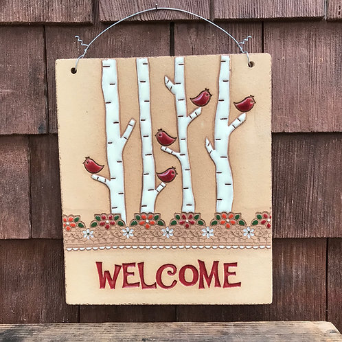 Welcome Sign BIRCH TREES Red