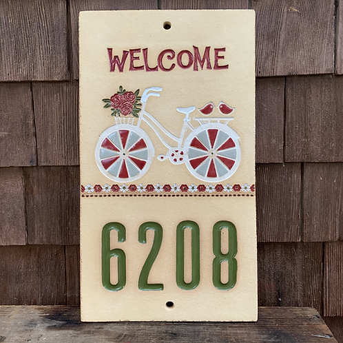 Custom House Number Sign BICYCLE