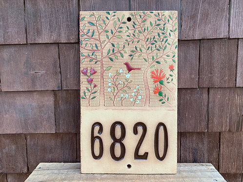 Custom House Number Sign WOODLAND Red