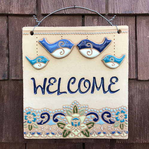 Mini Welcome Sign FOUR BIRDS blue