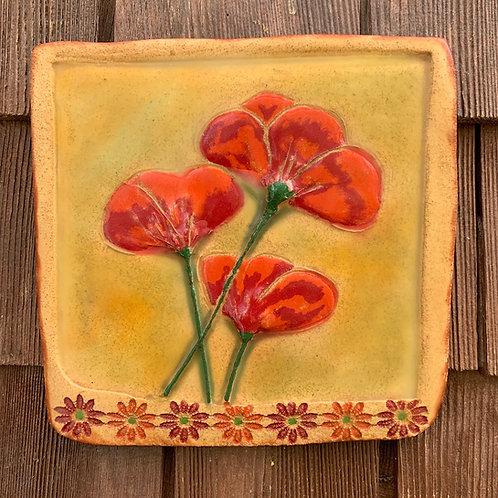 Poppies Encaustic Tile