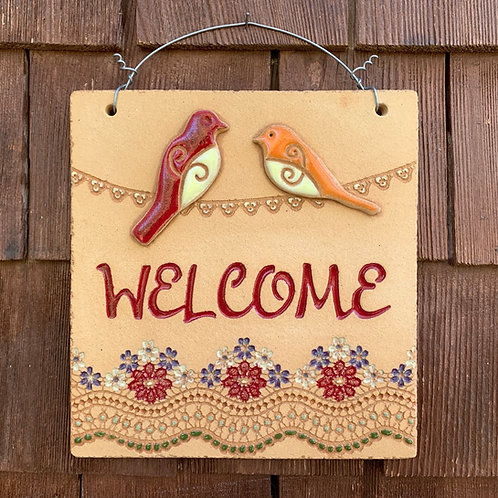 Mini Welcome Sign TWO BIRDS ON WIRE red