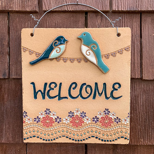 Mini Welcome Sign TWO BIRDS ON WIRE blue