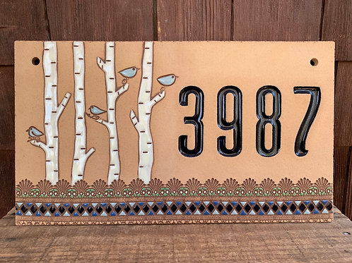 Custom House Number Sign BIRCH TREE Blue