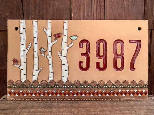 Custom House Number Sign BIRCH TREE Red