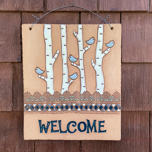 Welcome Sign BIRCH TREE Teal