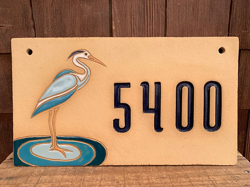 Custom House Number Sign HERON