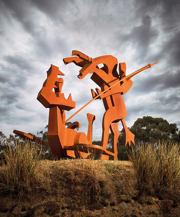 St George and the Dragon; Sculpture; corten steel; jimmy rix; large sculpture