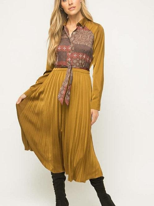 Long Pleated Print Dress