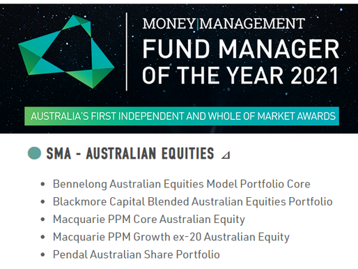 Fund Manager of the Year 2021 - Blackmore Capital shortlisted for SMA - Australian Equities category