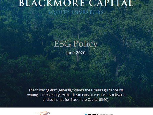 Blackmore Capital's approach to ESG