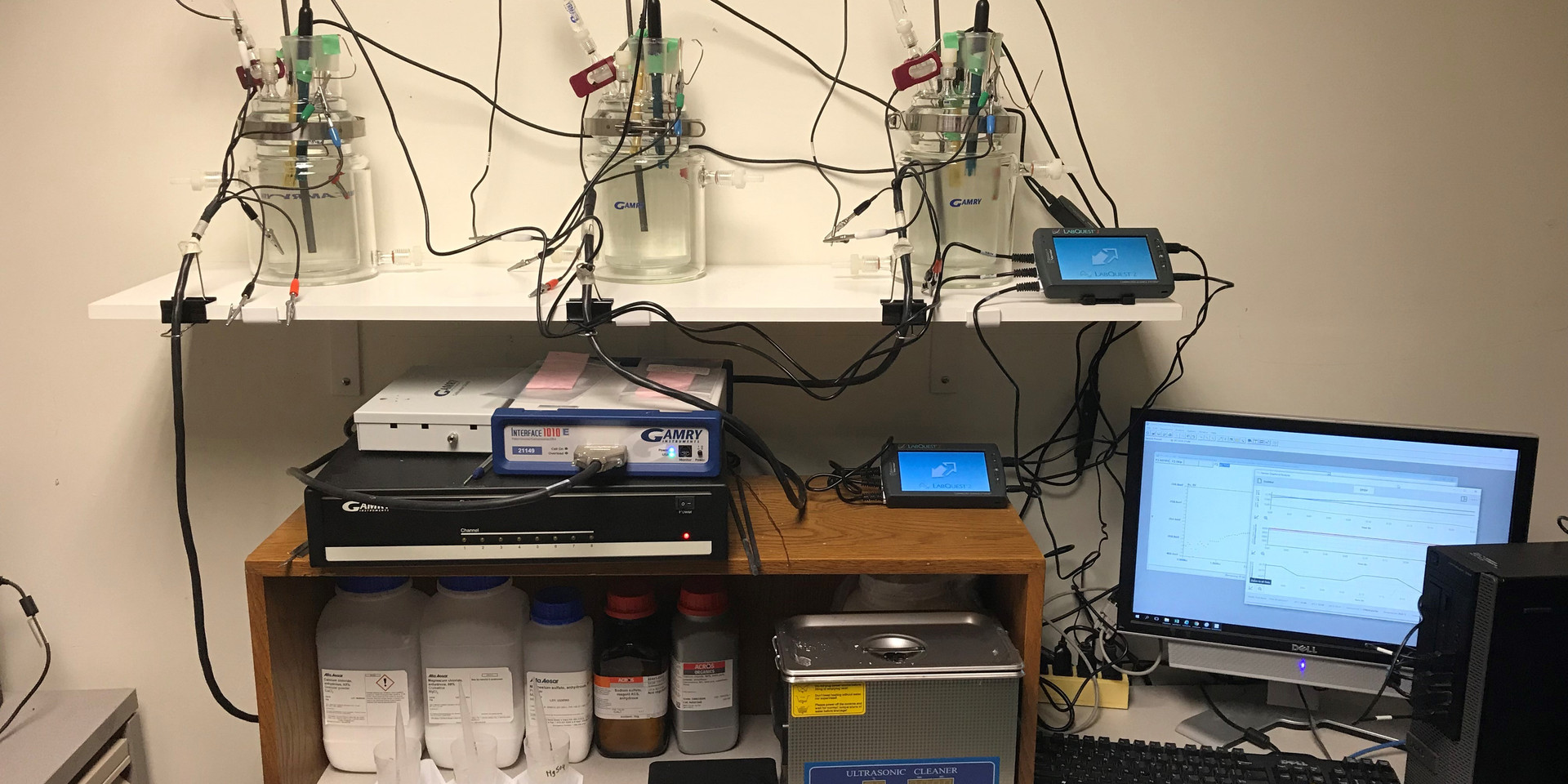 Electrochemical setup for testing the critical chloride threshold of post-tension tendons in expressed grout pore solution and exposed to chlorides+sulfates. Each corrosion cell is supplied additionally with a conductivty, a pH, and a tempertaure sensors to study the evolution of pH and pore solution conductivity and determine the time-variant influence of chlorides and sulfates on electrochemical properties of tendons.