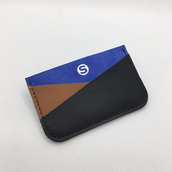 Porte-cartes bleu Klein, marron, noir